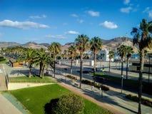 卡塔赫钠穆尔西亚口岸小游艇船坞日出在西班牙 可西嘉岛海岛地中海掌上型计算机摄影被采取的结构树 免版税库存照片