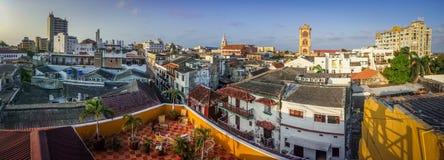 卡塔赫钠镇,哥伦比亚panoramatic看法  免版税库存图片