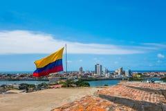 卡塔赫钠,哥伦比亚美好的大角度看法  免版税库存照片
