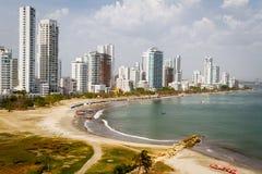 卡塔赫钠de Indias哥伦比亚地平线 免版税库存照片