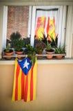 卡塔龙尼亚和西班牙旗子 免版税图库摄影