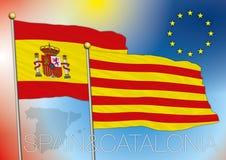卡塔龙尼亚和西班牙旗子 免版税库存照片