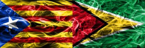 卡塔龙尼亚对圭亚那拷贝肩并肩被安置的烟旗子 加泰罗尼亚语和圭亚那的浓厚色的柔滑的烟旗子复制 库存图片