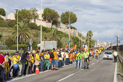 卡塔龙尼亚独立的抗议 免版税图库摄影