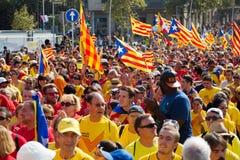 卡塔龙尼亚的国庆节在巴塞罗那,西班牙 免版税库存照片