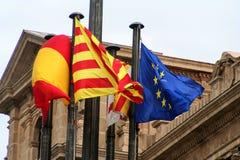 卡塔龙尼亚西班牙和europion联合旗子  库存照片