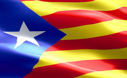 卡塔龙尼亚黄色和红色小条旗子有星挥动的纹理织品背景,分离主义的ind全国加泰罗尼亚的标志表决 免版税库存图片