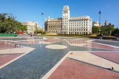 卡塔龙尼亚Square Placa de Catalunya,巴塞罗那,西班牙 图库摄影