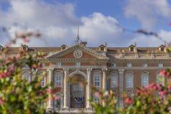 卡塞尔塔宫殿皇家庭院,意大利褶皱藻属 主要门面细节  图库摄影
