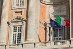卡塞尔塔,意大利 27/10/2018 阳台的细节卡塞尔塔奥斯陆王宫的主要门面的  库存照片