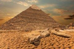 卡夫拉金字塔,美好的沙漠视图,吉萨棉,埃及 免版税图库摄影