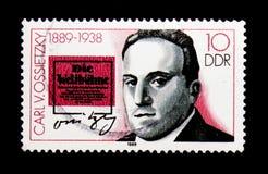 卡尔・冯・奥西茨基1889-1938,个性serie,大约1989年 免版税库存图片