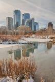 卡尔加里市在冬天 免版税图库摄影