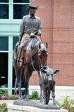 卡尔加里牛仔惊逃雕象 库存照片