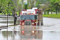 2013年卡尔加里洪水消防车 免版税库存图片