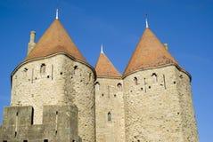 卡尔卡松城堡塔 免版税库存照片