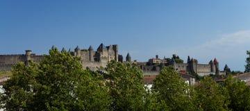 卡尔卡松老城镇美丽的景色在法国 免版税库存照片