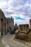 卡尔卡松被加强的中世纪在法国 库存图片