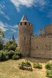卡尔卡松,法国 其中一个城堡Comtal的塔 免版税库存图片