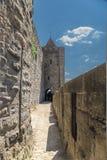 卡尔卡松,法国 华沙-城市墙壁的片段 库存照片