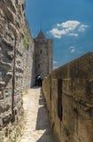 卡尔卡松,法国 华沙-城市墙壁的片段 免版税库存照片