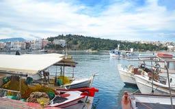 卡尔基斯优卑亚岛希腊- Chalkida疯狂的水风景现象象 免版税库存照片