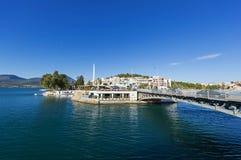卡尔基斯`沿海岸区,希腊看法  图库摄影