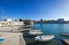卡尔基斯`沿海岸区,希腊看法  库存图片
