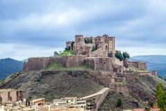 卡尔多纳城堡中世纪城堡在卡塔龙尼亚。 免版税库存照片