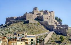 卡尔多纳城堡是一座著名中世纪城堡在卡塔龙尼亚。 免版税库存图片
