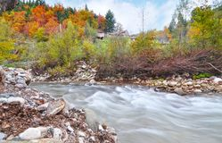 卡尔季察森林秋天风景有河的色萨利希腊 库存图片
