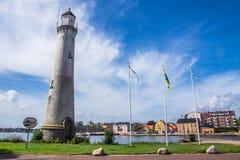 卡尔斯克鲁纳灯塔和都市风景  免版税图库摄影