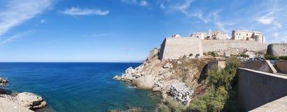 卡尔维,城堡,海滩,古老墙壁,小游艇船坞,地平线,可西嘉岛, Corse,法国,欧洲,海岛 免版税库存图片