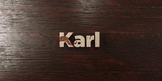 卡尔-在槭树的脏的木标题- 3D回报了皇族自由储蓄图象 免版税库存图片