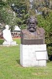 卡尔・马克思和列昂尼德・伊里奇・勃列日涅夫老雕塑Muzeon艺术的在莫斯科停放(下落的纪念碑公园) 图库摄影