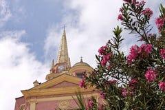 卡尔维,教会Sainte神的玛里(Ste玛里神),可西嘉岛,法国 图库摄影