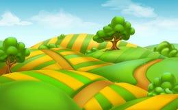 卡尤加人农场土地scape 向量背景 库存例证
