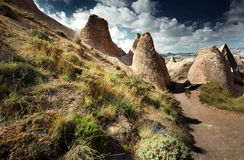 卡帕多细亚的岩层 免版税库存图片