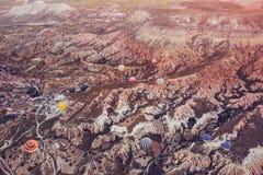 卡帕多细亚的著名旅游胜地航空小队 卡帕多细亚通认全世界作为一个最好 库存照片