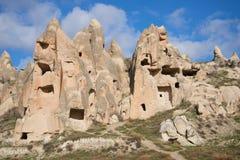 卡帕多细亚被雕刻的岩石  火鸡 库存照片