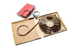 卡式磁带老卷轴磁带 库存图片