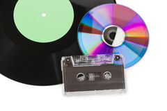 卡式磁带CD的盘留声机 免版税库存照片