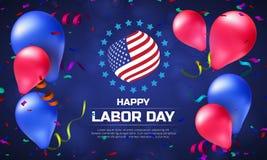 贺卡或横幅在水平的取向对愉快的劳动节与气球和美国国旗 免版税图库摄影