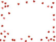 贺卡或照片框架和情人节感觉在白色背景的玩具心脏 红色上升了 免版税库存照片