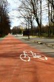 卡托维兹波兰,自行车道路 免版税库存照片