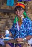 卡扬缅甸的部落妇女画象  图库摄影