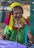 卡扬缅甸的部落妇女画象  免版税库存照片