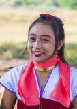 卡扬缅甸的部落妇女画象  免版税库存图片
