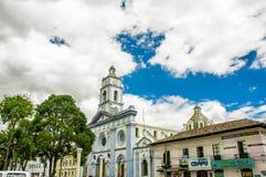 卡扬贝火山,厄瓜多尔- 2017年9月05日:关闭古老建筑在市卡扬贝火山,厄瓜多尔 免版税图库摄影
