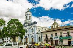 卡扬贝火山,厄瓜多尔- 2017年9月05日:关闭古老建筑在市卡扬贝火山,厄瓜多尔 库存照片